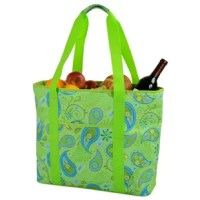 Extra large thermal shield insulated cooler bag from the paisley collection, has a waterproof food safe PEVA lining and is perfect for picnics, outdoor events and trips to the market. Top zips fully closed, has front pocket, and comfortable shoulder straps for easy carrying.