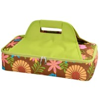 Floral Insulated Lunch Bag with sturdy construction and thermal shield insulation to keep food hot or cold during transport. Great to carry casseroles, cakes, rolls, etc. Features a sturdy centered handle to avoid tipping and zips fully open for easy packing. A convenient way to transport food to any occasion. From the floral collection.