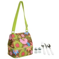 Floral Insulated Lunch Bag with service for one person has two separate insulated compartments, adjustable shoulder strap, and food container. Bottom section is leak proof and has a white easy clean lining. Top section opens wide so it's easy to fill, it zips closed and has an easy clean white lining. Front sleeve pocket has a hook & loop fasteners.