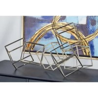 Modern reflections Metal Sculpture, 100% made from iron with metallic silver finish, features cube outlines stacked and welded to each other in an abstract pattern.