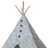 This gray and white Geometric Boho Chic Kids Play Teepee with Carrying Bag will complement any room. The modern, abstract designed play tent is made of heavy duty polycotton fabric and sturdy natural wooden poles with large, gray accent buttons to ensure safe and uninterrupted play for your little ones. Kid's Adventure bohemian style teepee comes with tie backs and plenty of interior space for your kiddos, fitting up to 3 small children comfortably. Kid's Adventure trendy play tent is easily...