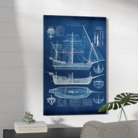 Soothing in blue, this ship is setting sail for style! Showcasing an architectural blueprint of an antique vessel, this distinctive design offers cool hues to calm your ensemble. Handmade and inspected in the USA, it is printed with anti-fade ultra chrome inks on 100% cotton canvas and wrapped around an anti-shrink pine wood bar frame. Let this eye-catching art piece sit on the wall above a glossy white console table for an entryway display with a pop of contrasting color, then make it shine...