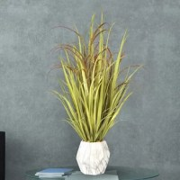 Long, silky strands of lifelike onion and plastic grass will add a touch of natural sophistication and elegance to your tabletops, shelves, ledges or desks. Unlike real plants, just dust occasionally—no need to worry about messy watering or time-consuming maintenance with these artificial plants.