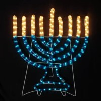 Rope light menorah decor for Hanukkah is suitable for both indoor and outdoor use.