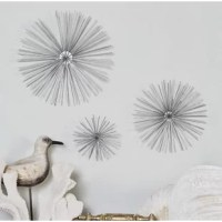 Crafted from metal and showcasing a metallic finish, this sunburst wall decor set brings statement-making style to any space. Its open design adds a breezy touch to your home while its solid color pattern pairs perfectly with monochromatic or vibrant and bold color palettes. Add this piece to the den to complement a mod-inspired ensemble, or use it to add a dash of dimension to an understated dining room. Match this set with a landscape canvas print for contrasting style then round out the look...