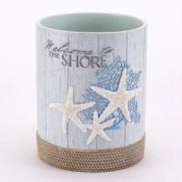 The Beachcomber 2.5 Gallon Waste Basket is crafted in resin with incredible detail. The coral and starfish motif is set off beautifully on an aqua clapboard background, finished with rope detail.