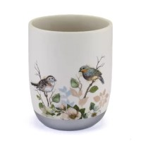 The Avanti Linens Love Nest 64 Gallon Waste Basket features beautifully rendered birds sitting on branches on a decal applied to an ivory resin base. The pieces are finished with a painted metallic border.