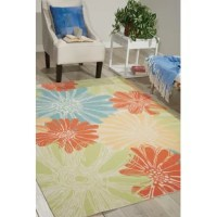 Add a touch of floral fancy and charm to your floors with this lovely area rug. Machine-made from polyester, it can be used both inside and outside your home. It is stain- and fade-resistant and can hold up to high-traffic – making it a perfect pick for busy entryways and patios. It showcases a blooming flower pattern with a drawn motif. It is awash in tones of red, yellow, and blue, so it is sure to freshen up your space.