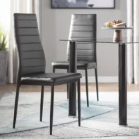 Make your dining room a bit more modern with this streamlined side chair. Founded atop four slightly tapered round legs, its frame is crafted from metal to support up to 250 lbs. Neutral faux leather upholstery envelops its tall curved back and seat, offering a budget-friendly and easy-to-clean alternative to genuine leather, while horizontal tufts stretch across the design to highlight its clean lines. This piece is well-suited for smaller spaces. Assembly is required.