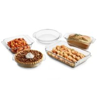 The Baker's Premium 5 Piece Baking and Roasting Dish provides 2 bake dishes, a loaf dish, and 2 pie plates. Watch from all sides as your food heats evenly and then grip the premium handles to serve directly from the attractive vessels. Store leftovers in the same dishes later.