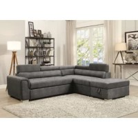 Experience simplicity with this Truesdale Sleeper Sectional with Ottoman. Upholstered in gray polished microfiber, it features full foam seat cushion and an adjustable headrest for maximum comfort. In addition, pull-out sleeper provides extra convenience for unexpected guests. With its classic but contemporary design, it will fit perfectly in any living room.