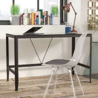 Want an extra boost of energy while you power through projects? Try giving your office a pick-me-up to make working from home more enjoyable, anchoring your study with this clean-lined writing desk. Crafted with a metal frame, this simplistic piece features a glass layer over its top and brings sleek style to any arrangement. Place it beside a sunny window in your spare space for a bit of vitamin D while you work, then tuck in a comfortable swivel chair so you have plenty of mobility. Once your...