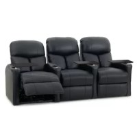 Whether popping in a flick the whole family can enjoy or cheering on your favorite team with friends during the big game, this home theater recliner is a must-have for your entertainment area. Constructed from a metal and wood frame, it showcases a solid color upholstery filled with polyester foam for added comfort. Four stainless steel cup holders keep your beverage secure and at arm's reach, while the reclining feature lets you lounge out with your feet up.