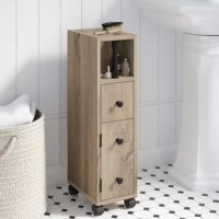 Perfect for petite powder rooms. this industrial-inspired bathroom accessory cabinet brings essential storage to your space without taking up too much square footage or sacrificing style. Made from manufactured wood and veneers in a light brown finish, this compact and budget-friendly piece measures just 27'' H x 7'' W x 11.75'' D overall, making it right at home in narrow nooks and cramped corners. One open cubby, one drawer, and one cabinet provide a place for brushes, cleaning supplies, and...