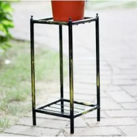Add a classy touch of refinement when you decorate your home with this Stone Slab 2 Tier Small Square Cast-Iron Plant Stand. Perfect for small potted plants, this plant stand is made of cast iron with a rich, powder coated black and gold finish and features 2 square surfaces for displaying plants and other items. Showcase your green thumb indoors with this neat and tasteful plant stand. With 2 shelving where the gray stone slab sits, your plants and flowers will have a reliable but beautiful...