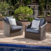 Perfect for lounging outdoors, this two-piece outdoor chair set combines the classic looks of wicker furniture with the utmost in comfort and functionality. The plush cushions and swivel base offer something that other outdoor furniture doesn't. Use it by the pool, on a patio, porch or anywhere you need a place to relax outdoors.
