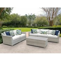 Settle in to enjoy a sunny summer drink or relax with friends with this 6-piece outdoor set! Crafted with an aluminum frame, this piece features a classic look with a woven resin exterior for a breezy feel that also resists weather and water. This set includes a sofa, a loveseat, and a coffee table so there's room to seat up to five people and keep a cool drink in easy reach. Plus, since this set arrives fully assembled with included cushions, you can get right to relaxing.