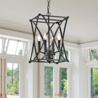 Dine under the bright light of this striking lantern to stir conversation. Forged from iron with an X-shaped pattern on the shade, this sturdy chandelier lasts through many decor changes. This chandelier is finished in an antique black polish that fits in most modern decor.
