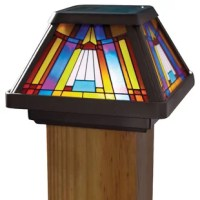 This inglenook premium output solar powered stained glass LED post cap light adds a decorative touch to your deck, patio or garden, all while taking advantage of solar energy. Made of black plastic, this tiffany styled post cap light has a colorfully stained glass lens that provides a 360-degree display and 120-degree beam angle of warm LED lighting. This light will emit 18-lumens from the 0.35-watt LED. The LED bulb will never need to be replaced and will remain cool to the touch at all times....