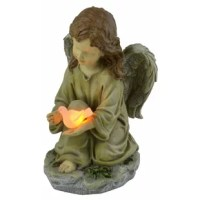 The moon rays Solar Powered LED Angel with Dove Statue is perfect for memorials, grave markers, and flower gardens, all while taking advantage of solar energy. Made of polyresin, the hand-painted kneeling angel is holding a dove that glows at night by a white LED. The LED bulb will never need to be replaced and will remain cool to the touch at all times, providing safe lighting that will not burn or heat-up. With no wiring required, installation, long-term energy savings and becoming...