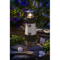The Breakwater Bay Solar Powered LED Striped Lighthouse Statue is perfect for a fire pit, all while taking advantage of solar energy. Made of hand-painted poly-resin, this Lighthouse Statue provides an ambient glow from 4 flickering red LEDs that automatically illuminate at night. The LED bulb will never need to be replaced and will remain cool to the touch at all times, providing safe lighting that will not burn or heat-up. With no wiring required, installation, long-term energy savings and...