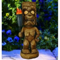 The Bay Isle Home Tiki Warrior Light Statue adds a decorative touch to your garden, porch or tiki bar, all while taking advantage of solar energy. This hand-painted statue of wood carved Tiki Warrior Light Statue has (3) amber LEDs that illuminate his eyes and torch at night. The LED bulbs will never need to be replaced and will remain cool to the touch at all times, providing safe lighting that will not burn or heat-up. With no wiring required, installation, long-term energy savings and...