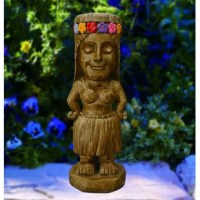 The Moonrays Princess Statue adds a decorative touch to your garden, porch or tiki bar, all while taking advantage of solar energy. This hand-painted statue of wood carved tropical island princess has 2 amber LEDs that illuminate her eyes at night. The LED bulbs will never need to be replaced and will remain cool to the touch at all times, providing safe lighting that will not burn or heat-up. With no wiring required, installation, long-term energy savings and becoming eco-friendly has never...