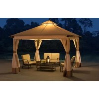 Instantly create an outdoor gathering spot for family and friends away from the glaring sun and pesky insects. This 10 ft. x 10 ft. soft-top gazebo by the world's leading ready-to-assemble outdoor structure maker, Sunjoy, creates a perfect outdoor setting. Keep cool under the weather-resistant 2-tier ventilated canopy supported by the rust-resistant steel frame. The outdoor fabric is designed to withstand the elements, while the panel curtains provide additional shade and privacy. Amplify the...
