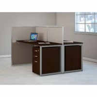Select the Bush Business Furniture Easy Office 60W  Standard Desk Office Suite for a prepackaged solution that creates a comfortable open office workspace for two. Take advantage of your available floor space by combining individual work areas with a common panel wall. Each Easy OfficeStandard Desk attaches to sturdy, 45H panels, which serve as a barrier between spaces, yet offer a lower, open wall that encourages collaboration. The thermally fused laminate work surfaces feature superior...