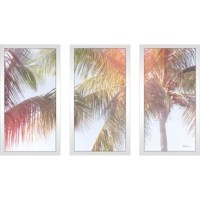 Are bare walls getting the better of you? Brighten up a dreary den or boring bedroom with a piece of wall art tailored to your home's style. This piece, for example, is a great option for a splash of beachy style: consisting of three famed panels, this piece showcases photographic print of palm trees with sunny lens flare. Printed in North America on artist-grade paper, this set of three panels includes wall hanging hardware, and arrives ready to hang.