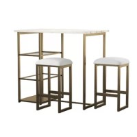 Introduce modern style to your casual dining nook or entertainment area with the warm and elegant feel of the Denham 3-Piece Brass Pub Set with Faux Marble top. Designed with small spaces in mind, this elegant pub set offers a sleek and trendy silhouette, highlighting a beautiful contrast between the faux marble countertop and the metal base with a soft brass finish. The tempered glass shelves make storage and organization a breeze when entertaining and the backless brass metal base stools have...