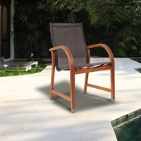 Add more to your outdoor seating collection with these beautiful Amazonia Mcnew armchair set! This set includes four beautiful eucalyptus armchairs with brown sling seats. Assembly is required for the chairs. Comes with free feron guard wood preservative for longest strap durability. It works great against the effects of air pollution salt air, and mildew growth. For best protection, perform this maintenance every season or as often as desired.
