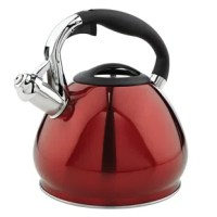 Boil water with this 3.6 Qt. Stainless Steel Stovetop Kettle. With stainless steel design sits on your stovetop adding a sleek decor look to your kitchen. The whistle spout signals when water has boiled and the stay cool handle allows you safely pour the water. You can make up to 14 cups at a time when entertaining and every kitchen needs this kitchen classic.