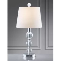 Brighten up your abode with a touch of glam style using this sumptuous set of table lamps. Constructed from a polished metal base with a chrome finish, each lamp features three crystal ball accents. The included empire shade showcase a white coloring and are topped with circular finials. Each lamp measures 21'' H x 10'' W x 10'' D, and accommodate one 120 W E26 incandescent, fluorescent, or LED light bulb (not included). Arrives in a set of two.