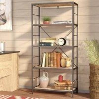 Clean, contemporary design meets rustic industrial style in this etagere bookcase. Crafted of wrought iron in a matte black finish, this bookcase features an open, clean-lined rectangular frame complete with an X-frame backing and ladder sides. Rounding out the design, five manufactured wood shelves with laminate veneers in a reclaimed wood finish provide perfect platforms for displaying everything from books, to framed photos, to collected curios.