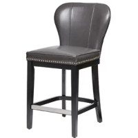 This stool introduces bold color for a modern update to a classic style. The armless winged back design features silver nailhead trim, giving this kitchen chair an elegant touch. High-density foam filling offers exceptional comfort, while the solid wood frame provides superior support. The solid wood legs showcase a colored finish that creates a beautiful contrast with the faux leather upholstery, for long-lasting style. The addition of a kick plate helps protect against everyday wear and tear....