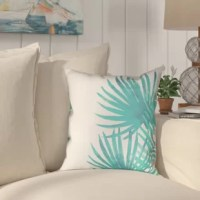 Invite tranquility onto your porch with these tropical aqua designs. The Eleni Aqua Palm Leaves II Outdoor Throw Pillow brights aqua hues and intricate leaf patterns are sure to heighten you and your guest's mood.