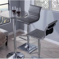 Enjoy your favorite drinks or tuck into breakfast on this adjustable, swivel bar stool. Sporting a sleek and stylish look, this bar stool adds a polished look to your space. Founded atop a metal frame with a pedestal base and footrest in a chrome finish, this bar stool easily blends in with contemporary aesthetics. A full faux leather seat with decorative stitching completes the look. Plus, a pneumatic lift makes it easy to adjust its height!