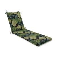 See your space in stylish jungle hues with this richly colored pattern. Sprawling palm fronds and leafy vines in varying colors of grass green, rich espresso brown, and accents of lemon yellow and aqua blue decorate both sides of the fabric. Enjoy this oversized Peridot Outdoor Chaise Lounge Cushion year-round anywhere you choose to relax.