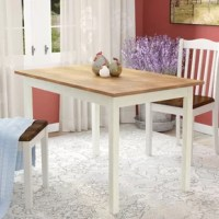 Sized to seat four, this compact dining table is the perfect pick for cozy eat-in kitchens and smaller dining spaces alike. Crafted from pinewood, this design measures just 45'' L x 28'' W x 29'' H. A warm brown finish outfits the rectangular top for a natural touch, while the base sports a white finish for a subtle contrast. Assembly is required. The manufacturer backs this product with a one-year warranty.