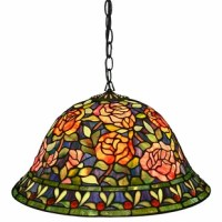 This elegant Rose Hanging Lamp has been handcrafted using methods first developed by Louis Comfort Tiffany.