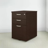 The Easy Office 3-Drawer Mobile Vertical Filing Cabinet in Mocha Cherry provides just the right amount of storage where you need it. The Easy Office collection offers this matching Mobile File Cabinet which features full-extension ball bearing slides on all drawers for easy access to contents. Two box drawers work perfectly for personal items and supplies. The lockable cabinet holds letter and legal-size folders. Includes casters for easy mobility and it fits under your desk to maximize space....