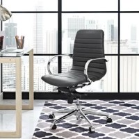 Designed with a ribbed vinyl slingback, this Gwaltney Ribbed Back Ergonomic Office Chair comes with a sleek polished chrome-plated aluminum frame, rounded armrests, and a contoured waterfall seat to ease pressure on thighs. Effortlessly position this chair with a 360-degree swivel, one-touch height adjustment, and a tilt tension knob that personalizes according to your needs. Dispersing body weight evenly, sliced back designs are ergonomic, offer passive lumbar support, and deliver the support...