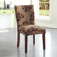 The ultimate compliment to your dining ensemble, your dining chairs lend you the perfect perch to enjoy a meal while they reinforce the style set by your dinner table. Take this chair, for example: crafted from a solid and manufactured wood frame, it strikes an armless parson's silhouette for a classic look in any home. And thanks to the patterned polyester upholstery and foam-filled seats, this piece showcases a padded design perfect for those long chats over dinner and wine.