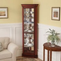 An ideal spot to put heirloom china on display in the dining room or corral curios in the den, this cabinet is a traditional essential. Taking on a triangular design that tucks right into a corner, its frame is crafted from solid wood and measures 80'' H x 27'' W x 16'' D. A neutral solid finish makes this piece versatile enough for any room, while molded details along the top and base and a mirrored interior make it more eye-catching. Open the cabinet door and you'll find nine shelves for...