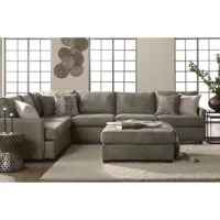 This sectional is manufactured with quality in mind. Using only hardwood frames, Certi-PUR foam, and durable fabrics that are hand tailored to the piece.