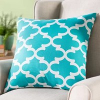 Be it a bench out by the garden or your front porch rocking chair, you can instantly make it cozier with this posh pillow. Made in the USA, it is stuffed with recycled polyester fill and wrapped in weather-resistant polyester fabric, so it can stand up to natural damage from sunlight and rain. A quatrefoil trellis motif surely stands out, while hues of white and blue keep it cool.