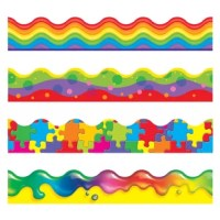 Four popular trimmer designs in one convenient pack! Create eye-catching displays of student work, frame bulletin board sets, and create craft projects. Coordinate with TREND bulletin board sets, Classic Accents, and Ready Letters for your most dynamic