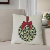 Bring a welcome touch of festive holiday joy to any chaise lounge or seating ensemble—inside or outdoors—with this mistletoe-themed throw pillow! Inspired by twinkling lights and white Christmases, the pillow cover showcases a graphic print design depicting a ball of green mistletoe hung with a big bow. The pillow cover is made in the USA from stain-, fade-, and weather-resistant polyester canvas with a plump synthetic down insert.