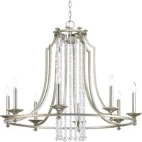 "This collection features luxury materials and details reminiscent of Hollywood's ""Golden Era."" A silver ridge finish and clear crystal strands cascade in a waterfall effect to convey the glitz and glamour from an iconic time that is making a modern comeback."